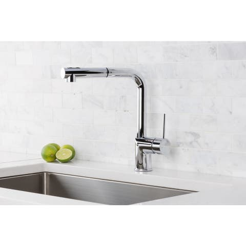 Hahn Silver Brass, Stainless Steel Ultra-Modern Duo Single Lever Pull Out Kitchen Faucet - Chrome/Clear
