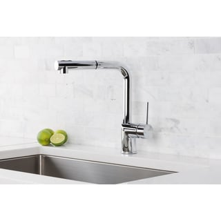 Hahn Silver Brass, Stainless Steel Ultra-Modern Duo Single Lever Pull Out Kitchen Faucet
