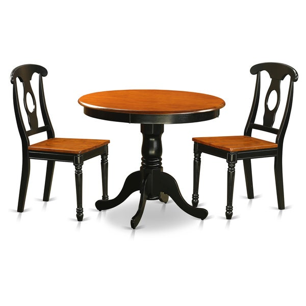 Antique Black 3 Piece Dining Room Set Finished With 2 Dining Chairs
