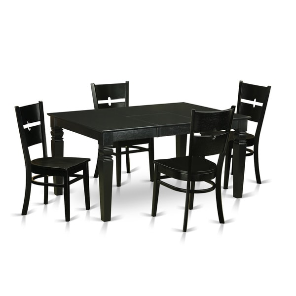 Shop Weston Black Solid Rubberwood 5-Piece Dining Set With