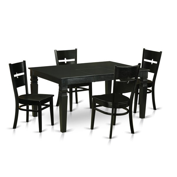 Weston Black Solid Rubberwood 5 Piece Dining Set With Rectangular Table And  Four Rockville Chairs