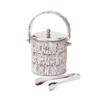 White Stainless Steel Ice Bucket and Tongs