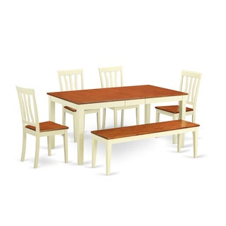 Contemporary Buttermilk and Cherry Finish Solid Rubberwood 6-Piece Dining Set With Table, 4 Dinette Chairs, and Bench