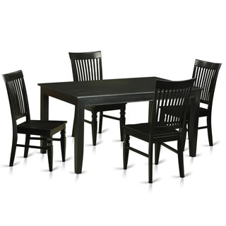 Black Rubberwood 5-piece Dinette Table Set