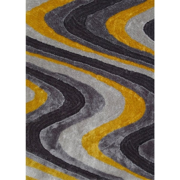 Shop Silver/Grey/Yellow Viscose Handmade Shag Area Rug