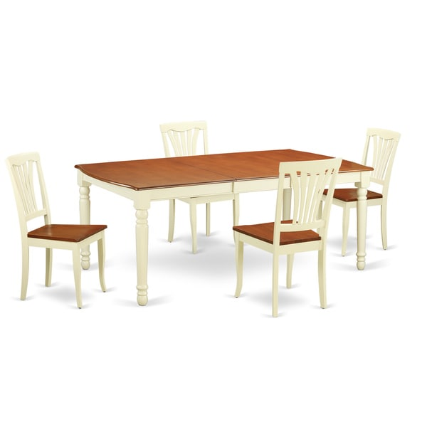 Cherry Kitchen Table And Chairs: DOAV5-WHI White/Cherry Rubberwood 5-piece Dinette Table