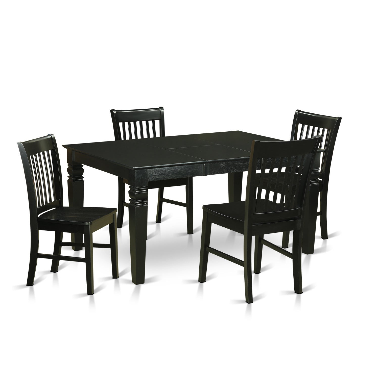 Black Finish Solid Rubberwood 5-piece Dining Set with Rec...