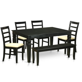 WEPF6D-BLK Black Rubberwood 6-piece Kitchen Nook Dining Set Including Small Kitchen Table and 4-kitchen Chairs with a Bench