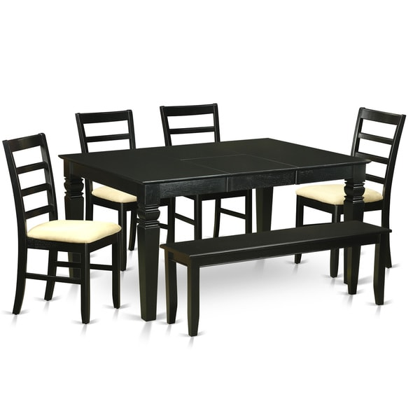 WEPF6D BLK Black Rubberwood 6 piece Kitchen Nook Dining  : WEPF6D BLK C 6 Piece kitchen nook dining set Small kitchen table and 4 kitchen chairs with a Bench c4bbb0cb b74d 42c5 bf92 b81279f32041600 from www.overstock.com size 600 x 600 jpeg 33kB