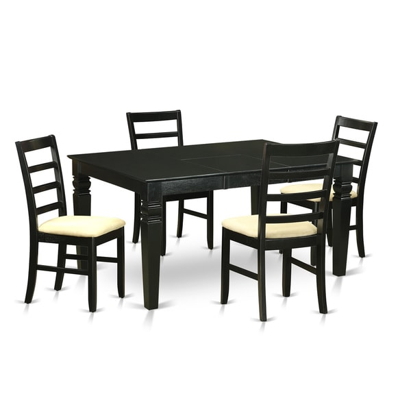 WEPF5-BLK-C Black Rubberwood 5-piece Small Kitchen Table Set