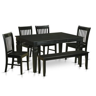 WENO6D-BLK-W 6-piece Black Rubberwood Kitchen Dinette Set