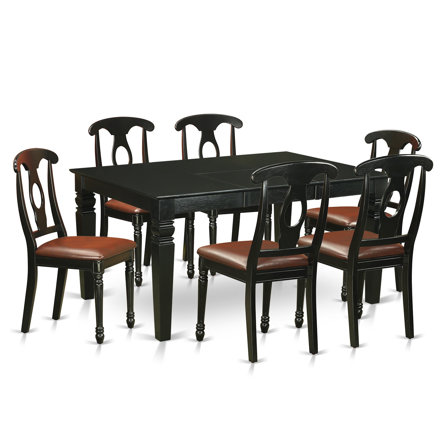 WEKE7-BLK-LC Black Rubberwood 7-piece Dinette Table and 6...
