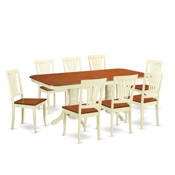 Merveilleux Traditional Buttermilk And Cherry Finish Solid Rubberwood Nine Piece Dining  Set With Extendable Table And