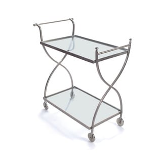 Hip Vintage Silver Glass Phantom Bar Cart