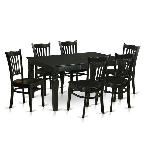 black 7 piece dining room set | Shop Black Rubberwood 7-piece Dining Room Set - Free ...