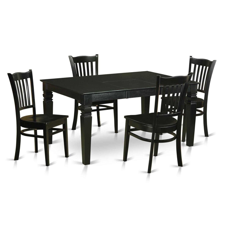 WEGR5-BLK-W Black Rubberwood 5-piece Small Kitchen Table ...