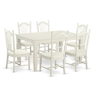 White Finish Solid Rubberwood 7-piece Dining Set with Rectangular Weston Table and Six Dover Chairs