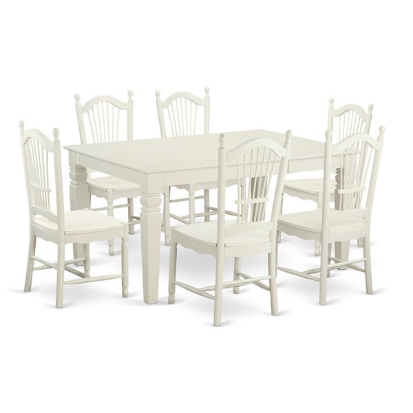 Archibald 7 Piece White Dining Set: Shop White Finish Solid Rubberwood 7-piece Dining Set With
