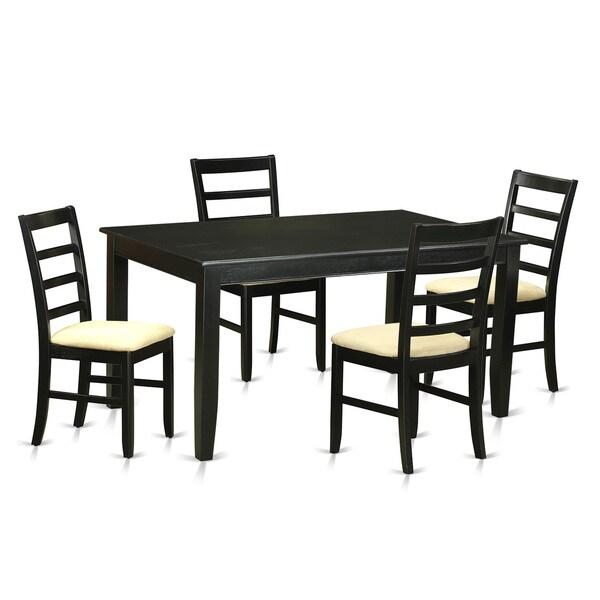 Shop Modern Black Finish Solid Rubberwood 5-Piece Dining