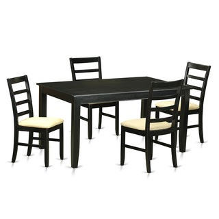Modern Black Finish Solid Rubberwood 5-Piece Dining Set With Rectangular Table and Four Upholstered Chairs