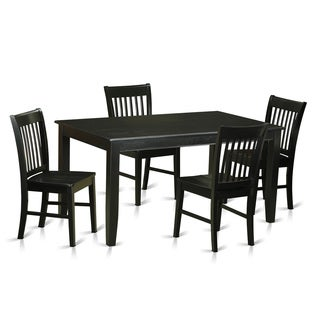 DUNO5 Black Rubberwood 5-piece Dining Set
