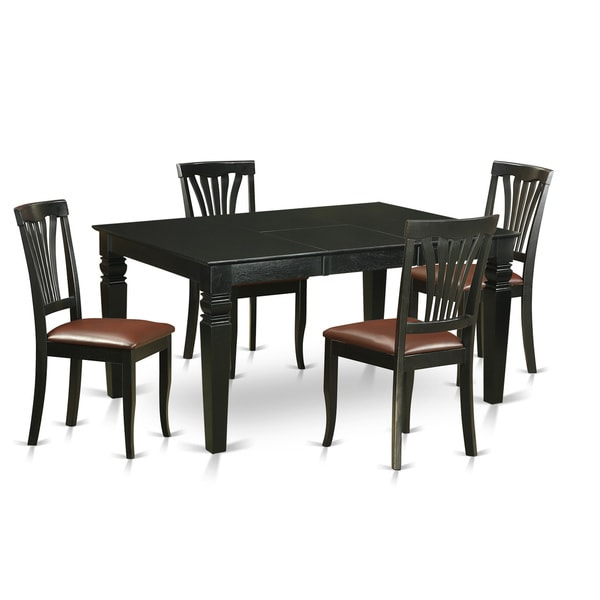 Weav5 Black Rubberwood 5 Piece Dining Set