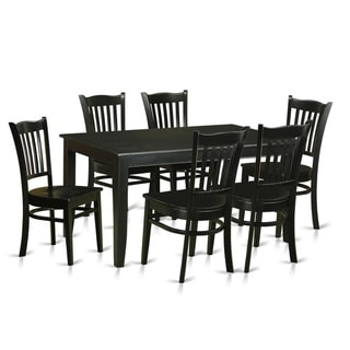 Contemporary Black Finish Solid Rubberwood 7-piece Dining Set with Rectangular Table and Six Chairs
