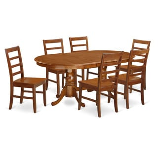 Plainville Cherry or Cream Finish Solid Rubberwood 7-Piece Dining Set with Expandable Oval Table and Six Chairs