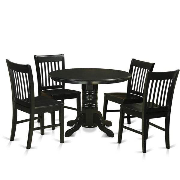 Shop Contemporary Black Finish Solid Rubberwood 5-Piece ...