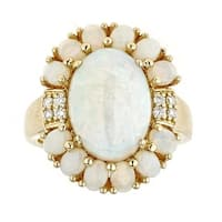 Anika and August 14k Yellow Gold Oval-cut Ethiopian Opal, Australian Opal, and Diamond Ring
