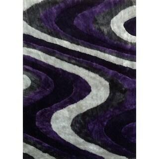 Handmade Silver/Grey/Purple Shag Area Rug (4' x 5'4)