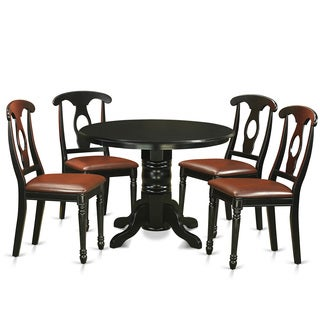 Antique Black Finish Solid Rubberwood 5-piece Dining Set with Shelton Round Table and Four Kenley Chairs