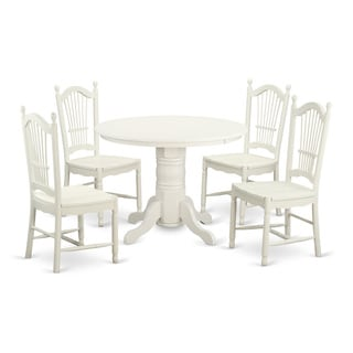 Traditional White Finish Solid Rubberwood 5-Piece Dining Set with Round Shelton Table and Four Dover Chairs