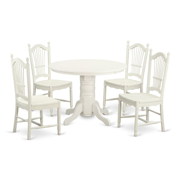 Shop Traditional White Finish Solid Rubberwood 5-Piece