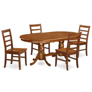 PLPF5-SBR-W Brown Rubberwood 5-piece Dining Room Set with Dining Room Table and 4 Dining Chairs