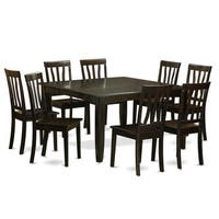 Cappuccino Finish Solid Rubberwood 9-Piece Dining Set