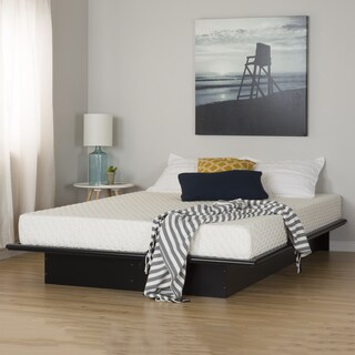 South Shore Step One Pure Black Queen Platform Bed and Mattress Set (60'')