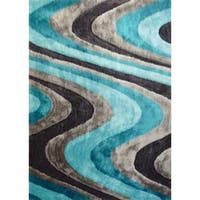 Silver/Grey/Blue/Turquoise Viscose Handmade Shag Area Rug - 4' x 5'4