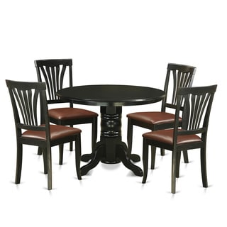 SHAV5-BLK Black Rubberwood 5-piece Dinette Set Including Dinette Table and 4 Dining Chairs