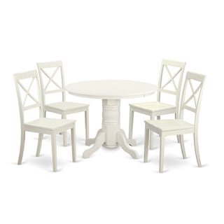 Traditional White Finish Solid Rubberwood 5-Piece Dining Set with Round Table and Four Dinette Chairs