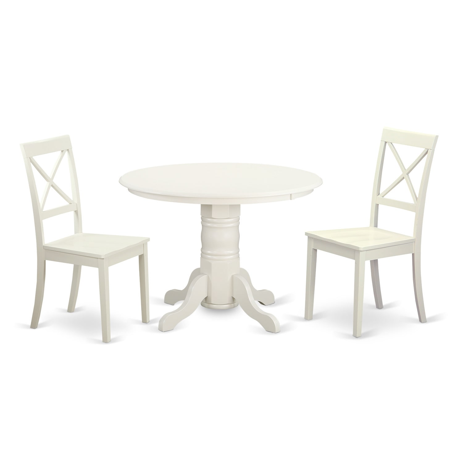 3-piece Wooden White Finish Dining Room Set with Round Pe...