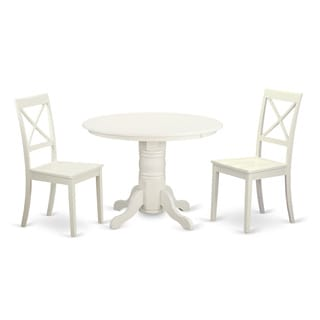 3-piece Wooden White Finish Dining Room Set with Round Pedestal Table