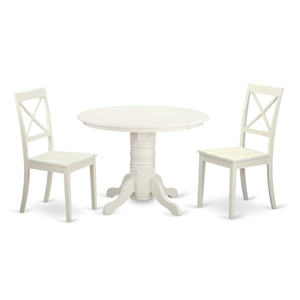 3 piece wooden white finish dining room set with round for 3 piece dining room table