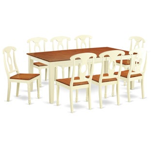 QUKE9-WHI-W 9-piece Dining Table Set