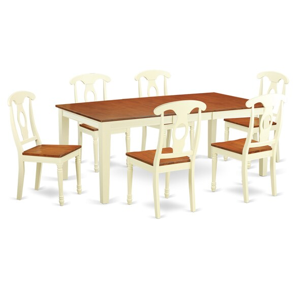 Shop Dining Room Sets: Shop QUKE7-WHI Cream/Cherry Rubberwood 7-piece Kitchen