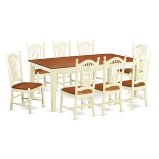 Buttermilk/Cherry Finish Solid Rubberwood 9-Piece Dining Set With Quincy Table and 8 Dover Chairs