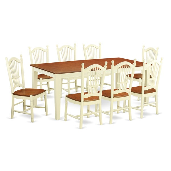 9 Piece Solid Wood Dining Set With Table And 8 Chairs: Shop Buttermilk/Cherry Finish Solid Rubberwood 9-Piece
