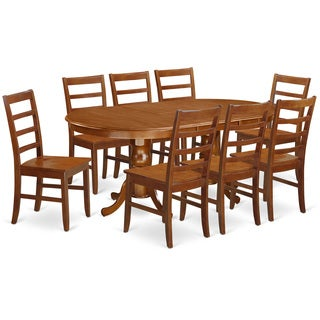 Traditional Natural Finish Solid Rubberwood 9-Piece Dining Set with Plainville Table and Eight Dining Chairs