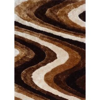 Handmade Beige Brown Shag Area Rug (4' x 5'4)
