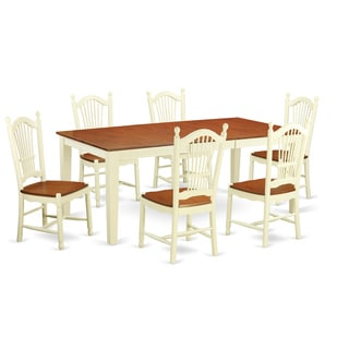 Cream/Cherry Rubberwood 7-Piece Kitchen Table Set